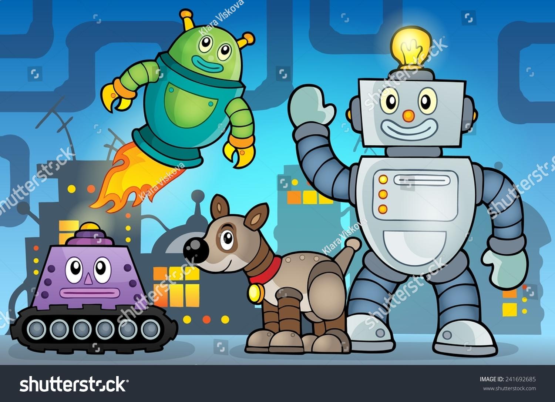 机器人主题图像6 - eps10矢量插图.-物体,科技-海洛()
