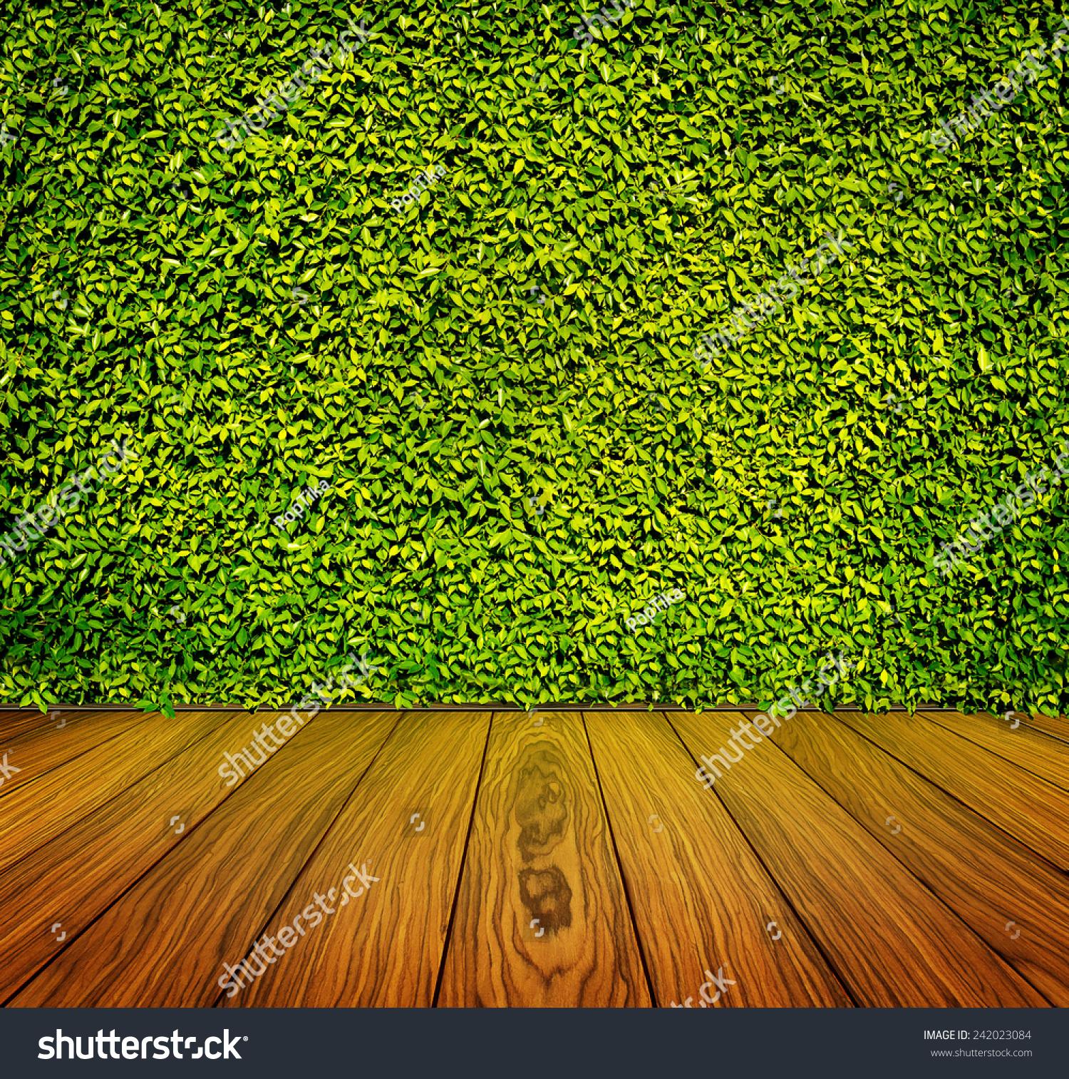 绿叶和木地板的背景墙-背景/素材