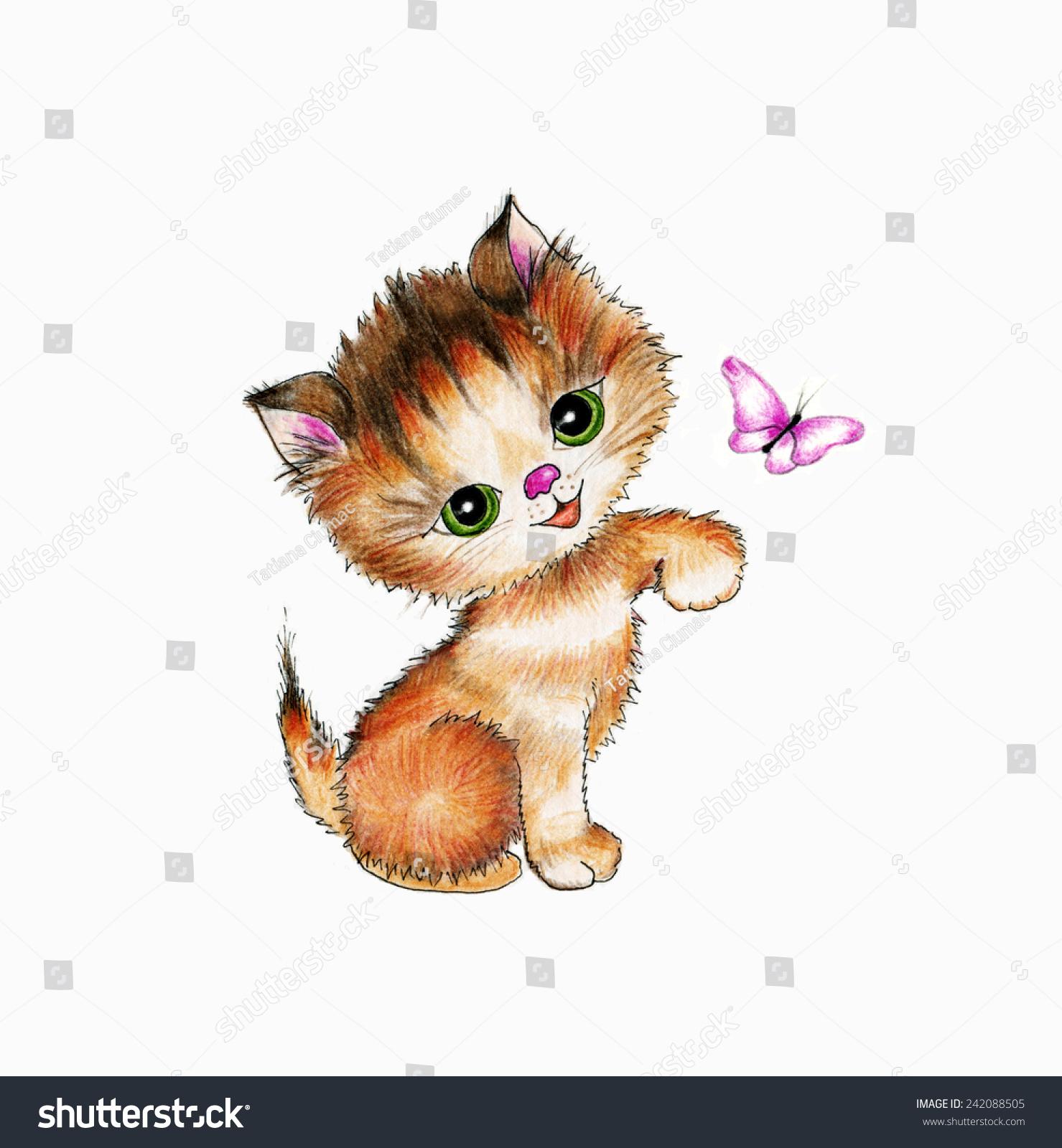 可爱的小猫和蝴蝶-背景/素材,艺术-海洛创意(hellorf)