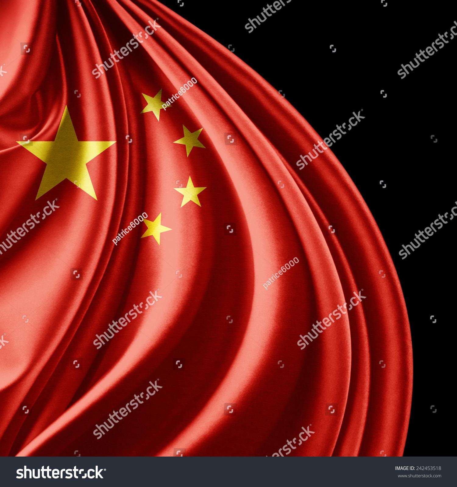 中国国旗和黑色背景-背景/素材