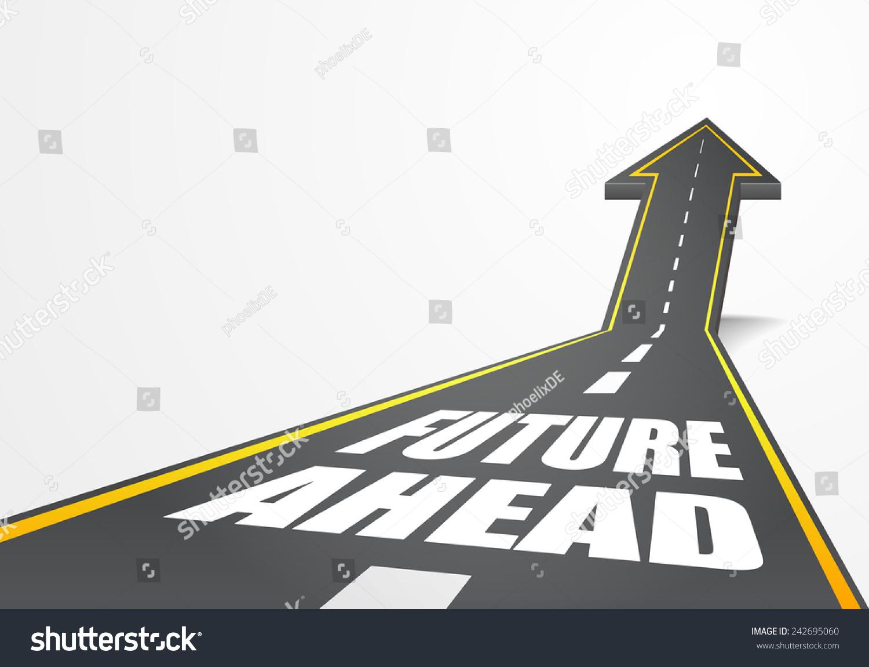 详细说明高速公路道路向上的箭头与未来文本,eps10向量