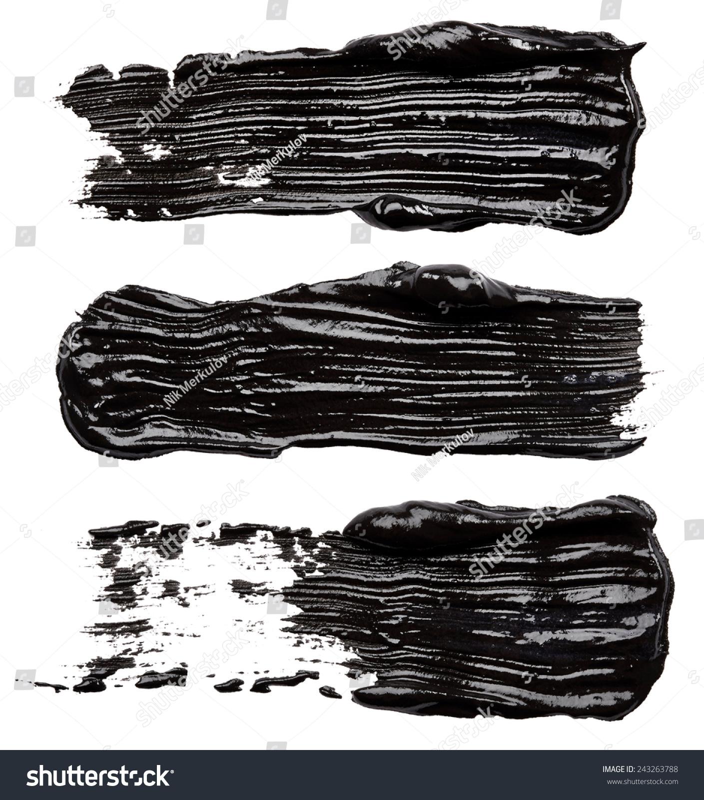 白色背景下的黑色油漆笔触-背景/素材,抽象-海洛创意