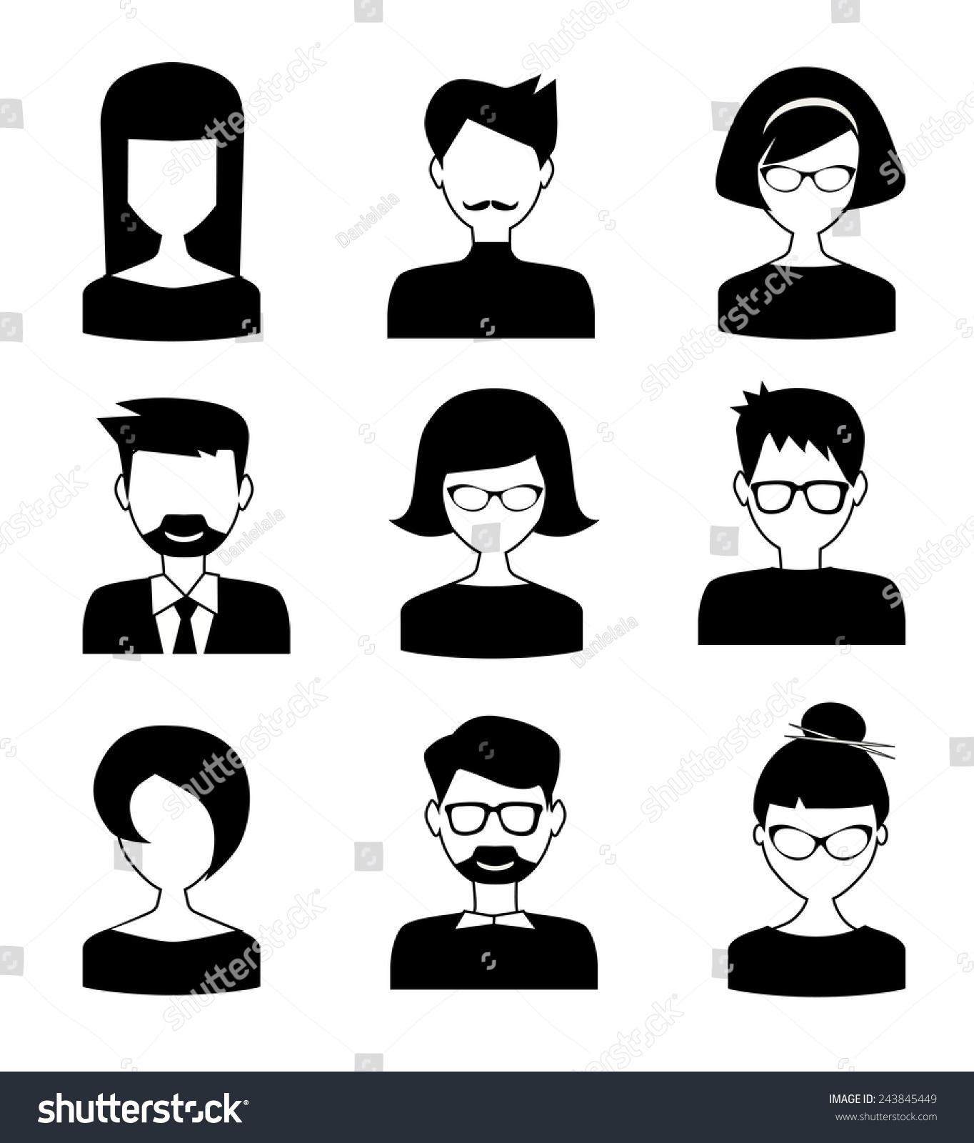 黑白人物图标-背景/素材