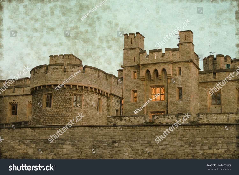 复古的石头堡垒伦敦塔的形象