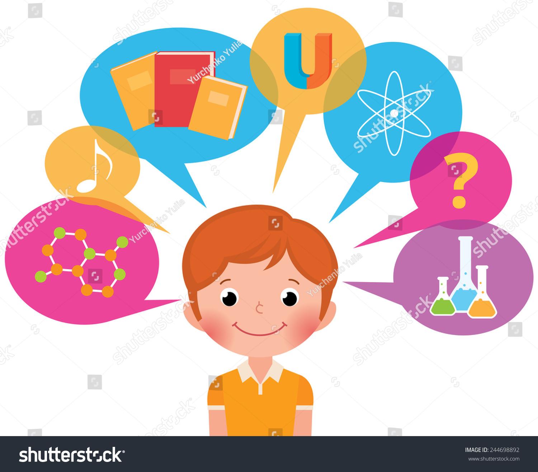 卡通男孩学生不同的科学/儿童/学习矢量插图不包含透明