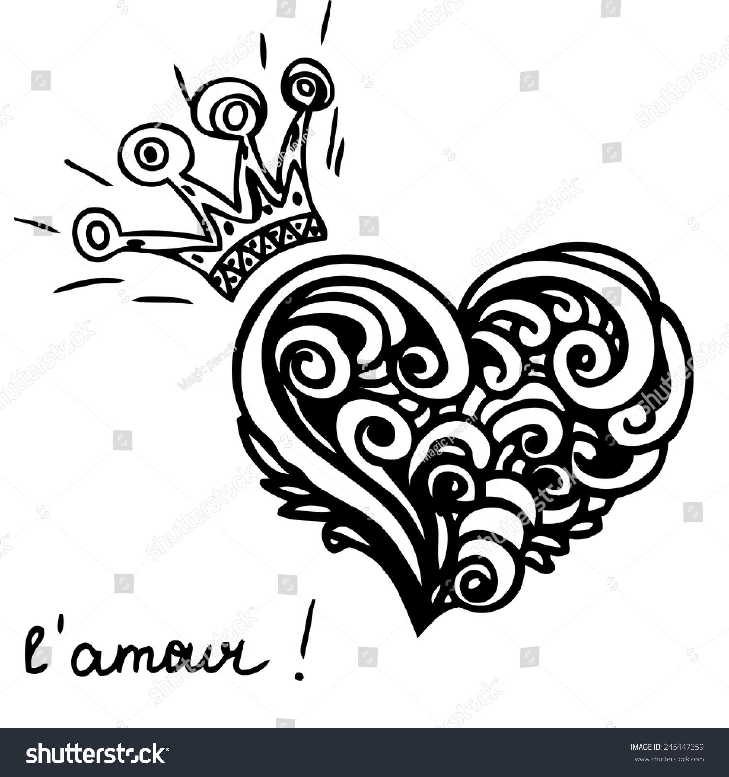 手绘矢量插图与皇冠皇家的心.情人节的模板