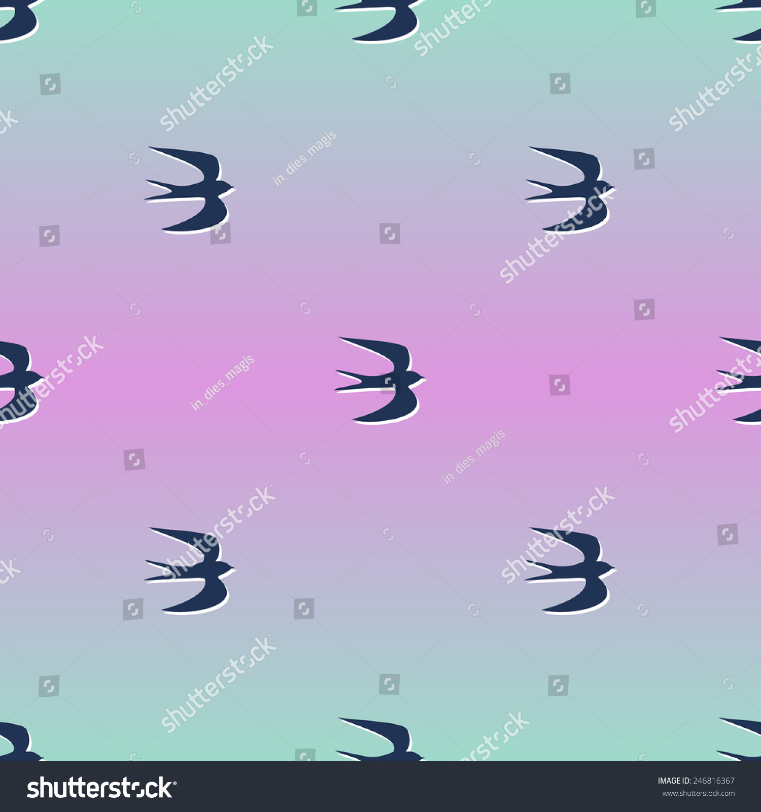 无缝模式与小燕子.文摘与飞鸟日出渐变背景.