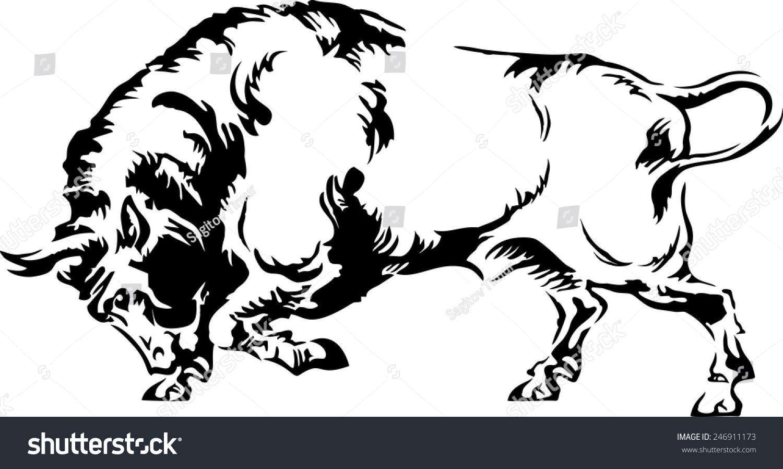 白色背景下的水牛剪影矢量图-动物/野生生物