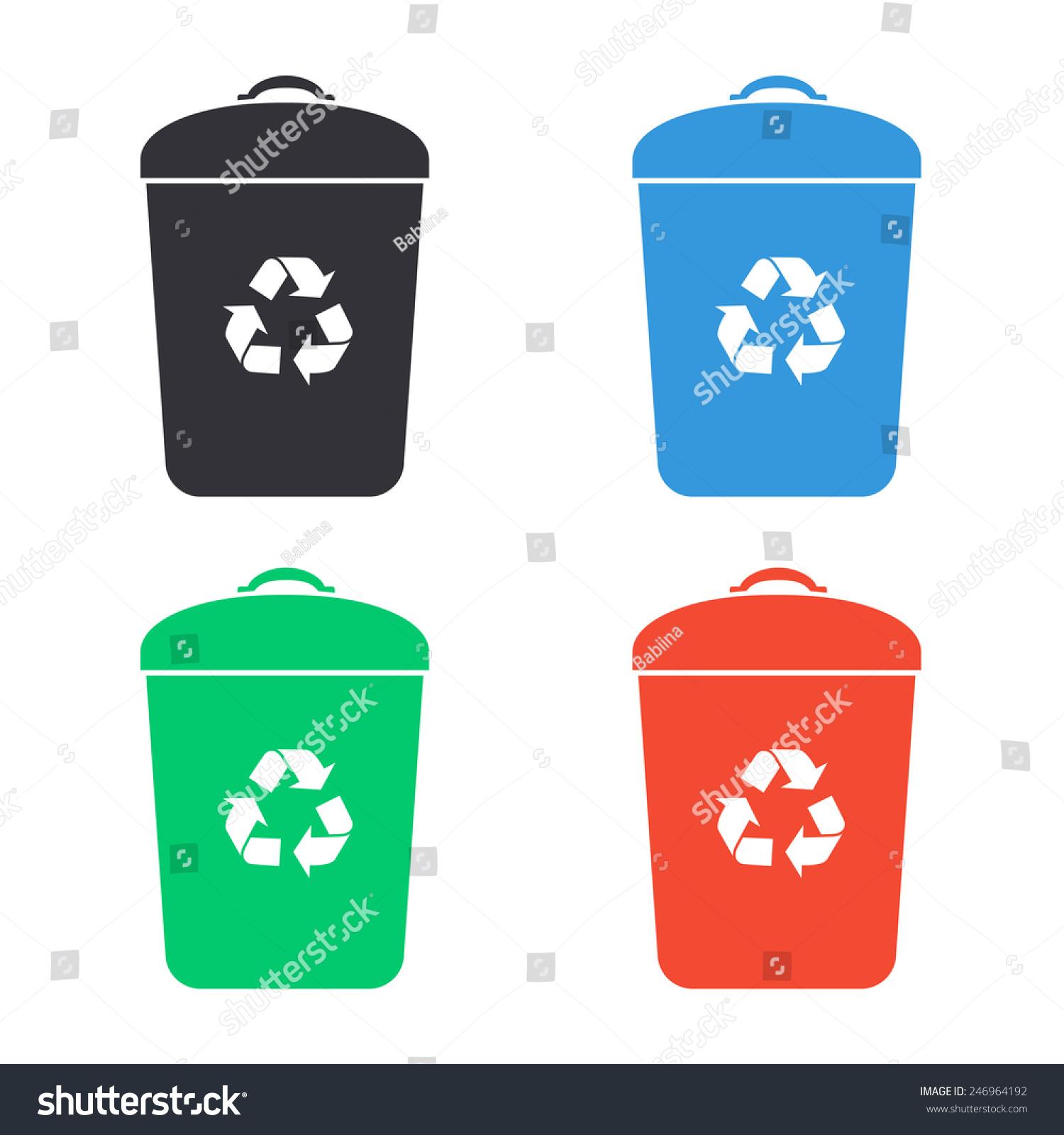 垃圾桶图标——彩色矢量插图图片
