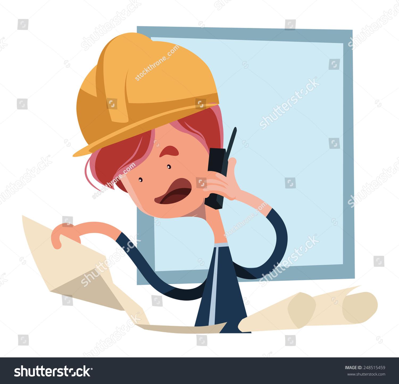 建筑工人看图纸矢量插图卡通人物