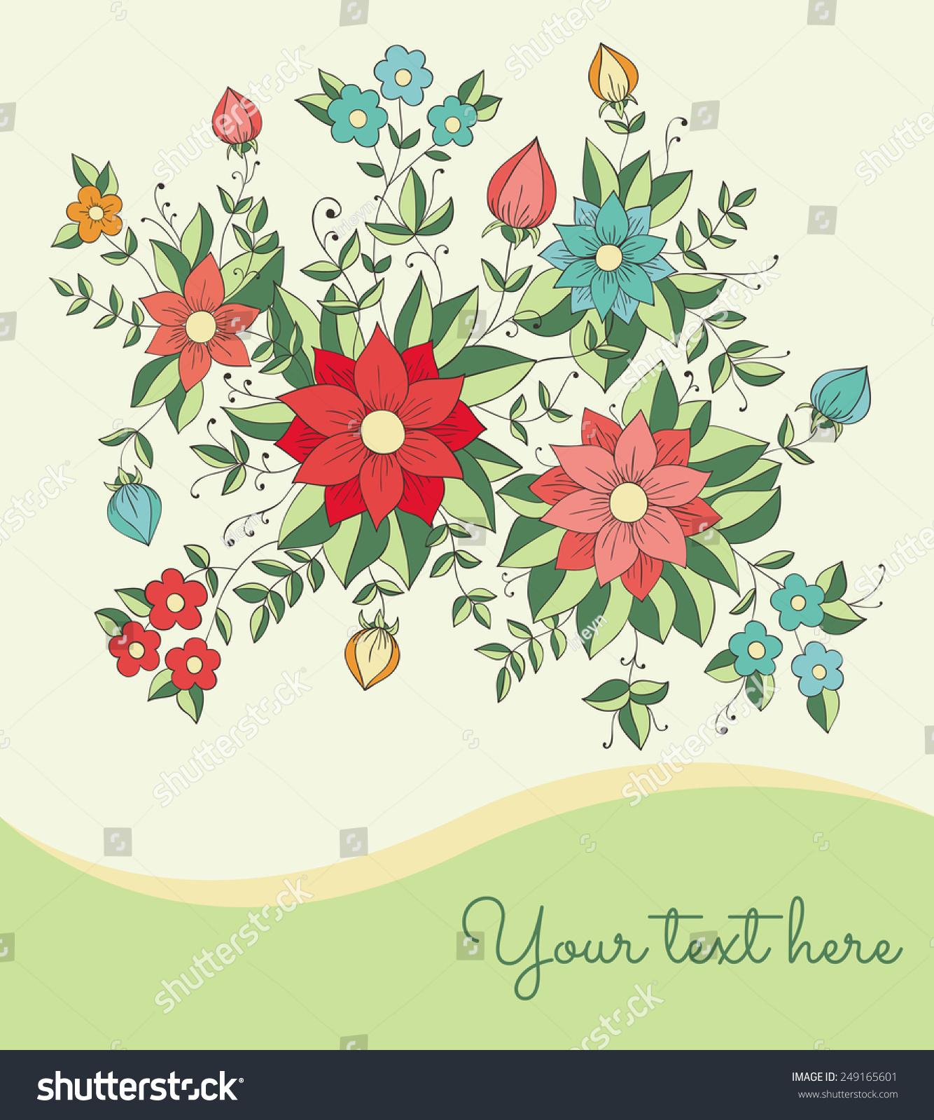 向量与手绘贺卡鲜花