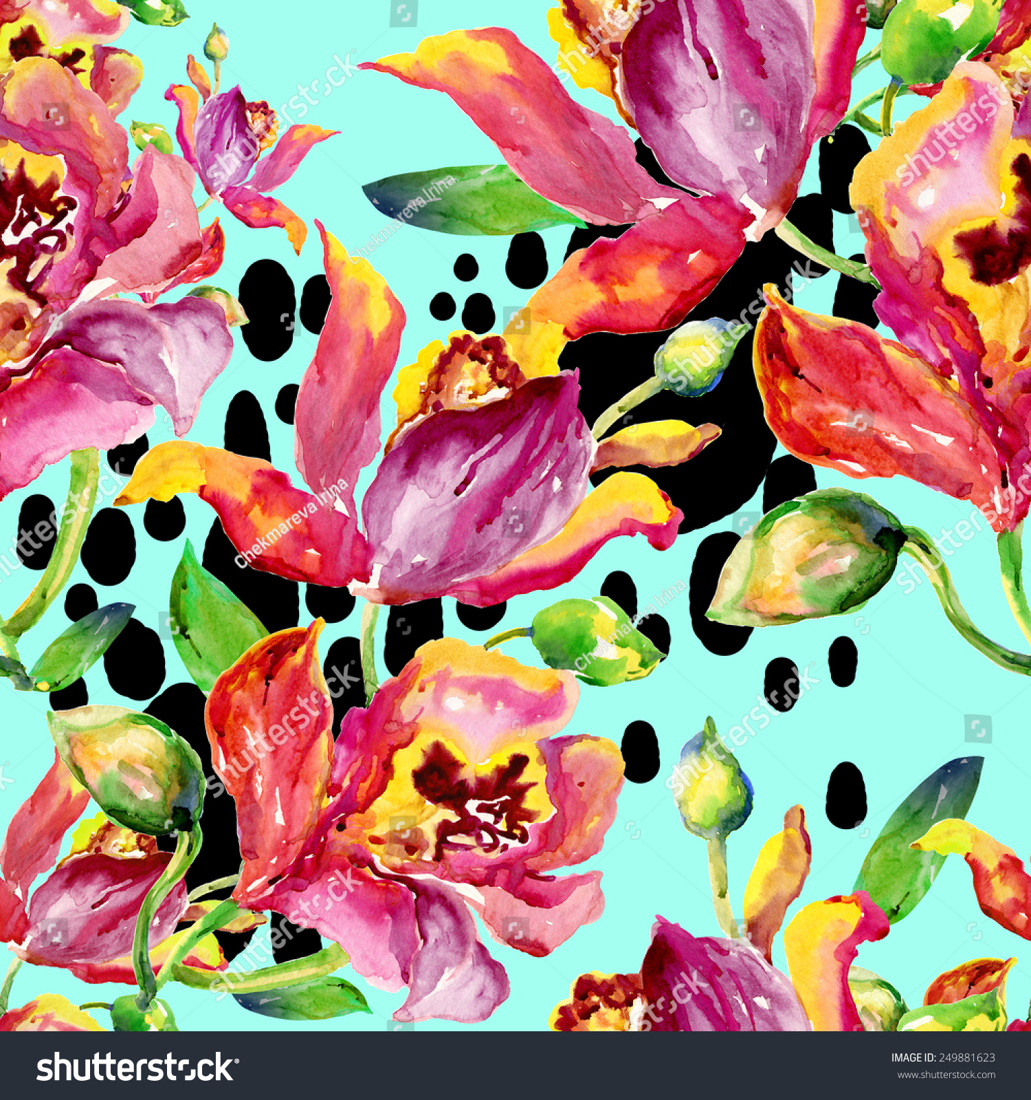 手画水彩画.美丽的原始模式,设计和装饰.美妙的打印.