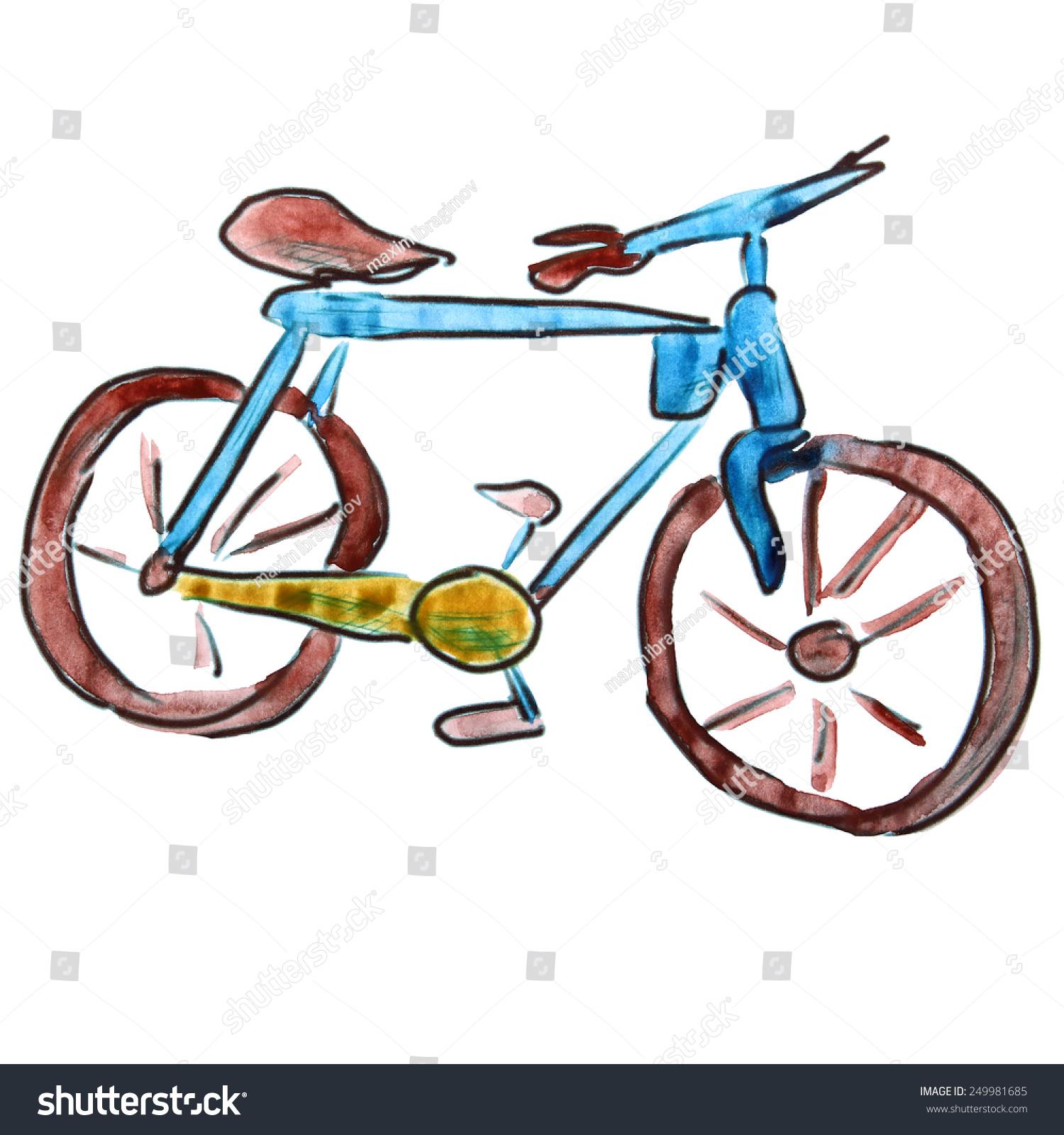 水彩自行车蓝色卡通人物,孤立在白色背景-物体,艺术