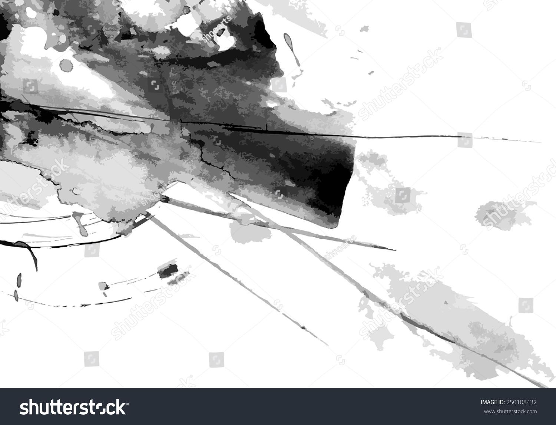 抽象的墨水向量背景漆成白色-背景/素材