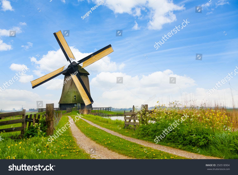 荷兰农村公路和风车-建筑物/地标-海洛创意(hellorf)图片