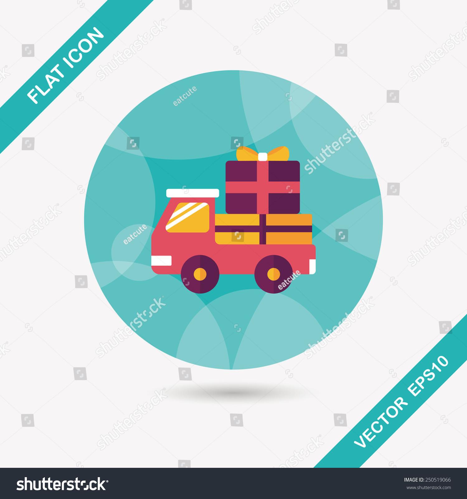 购物货物运输平面图标长长的阴影
