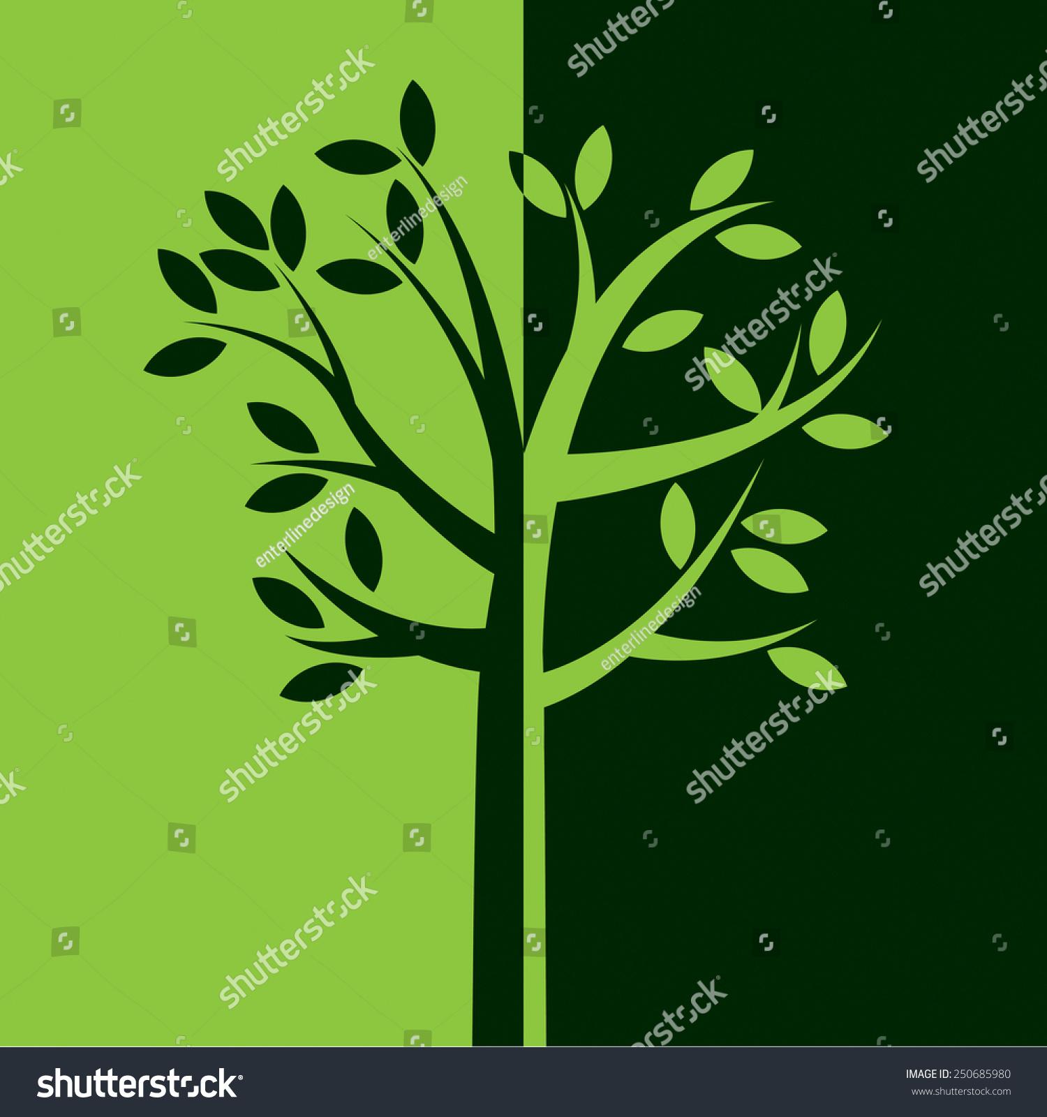 用树枝和树叶将演示一个简单的树在逆转绿色的颜色.向量eps 10.