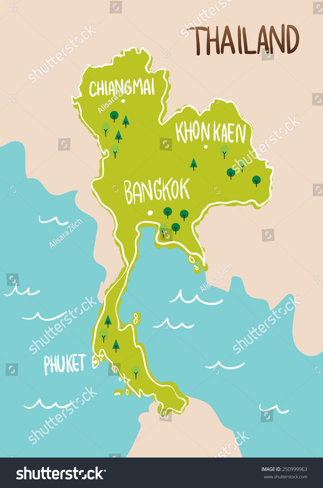 泰国地图绘制插图向量-建筑物/地标,背景/素材-海洛()