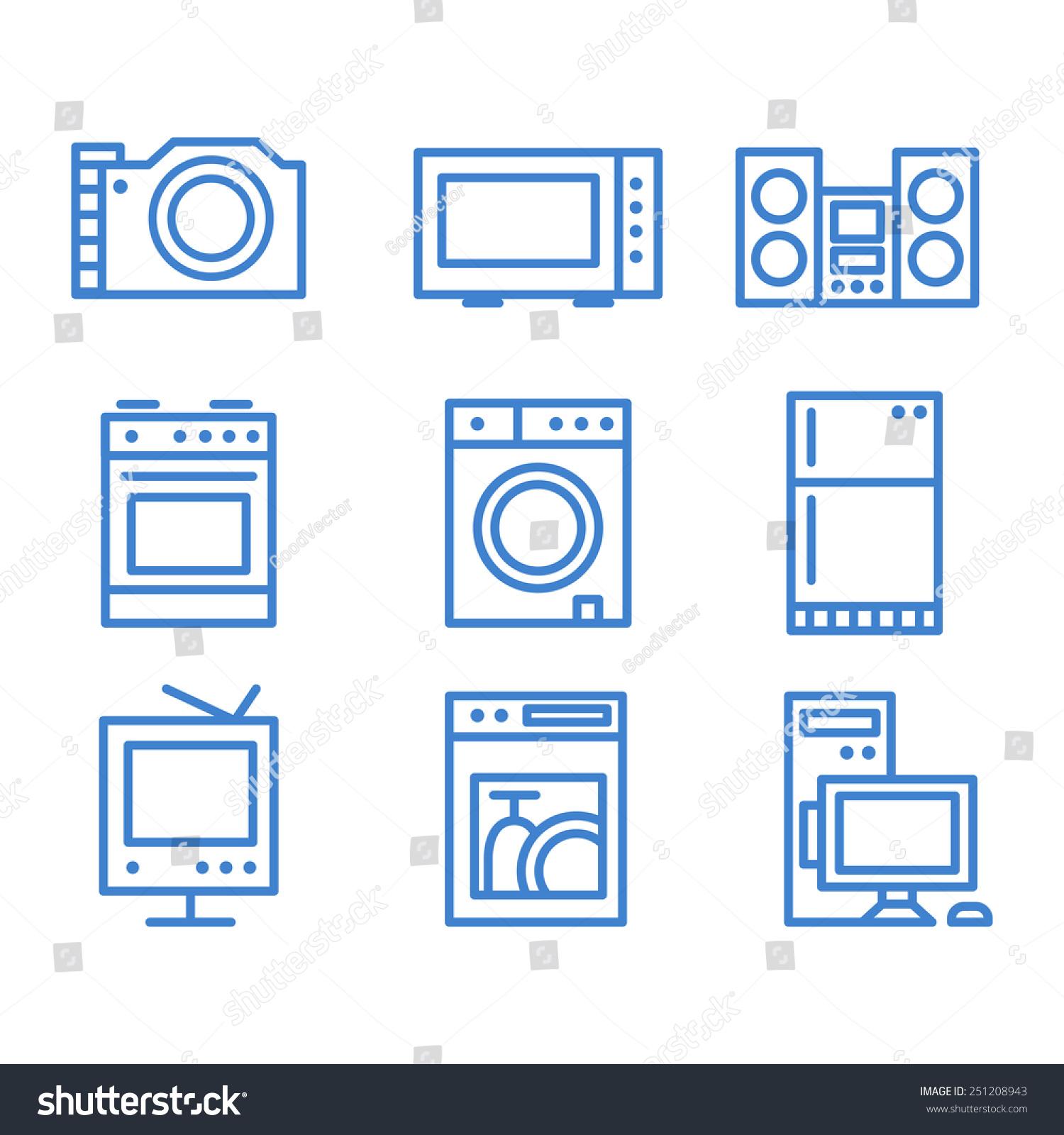 家用电器图标现代线矢量集-科技