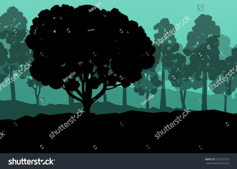 生态森林背景矢量概念和许多详细的树木