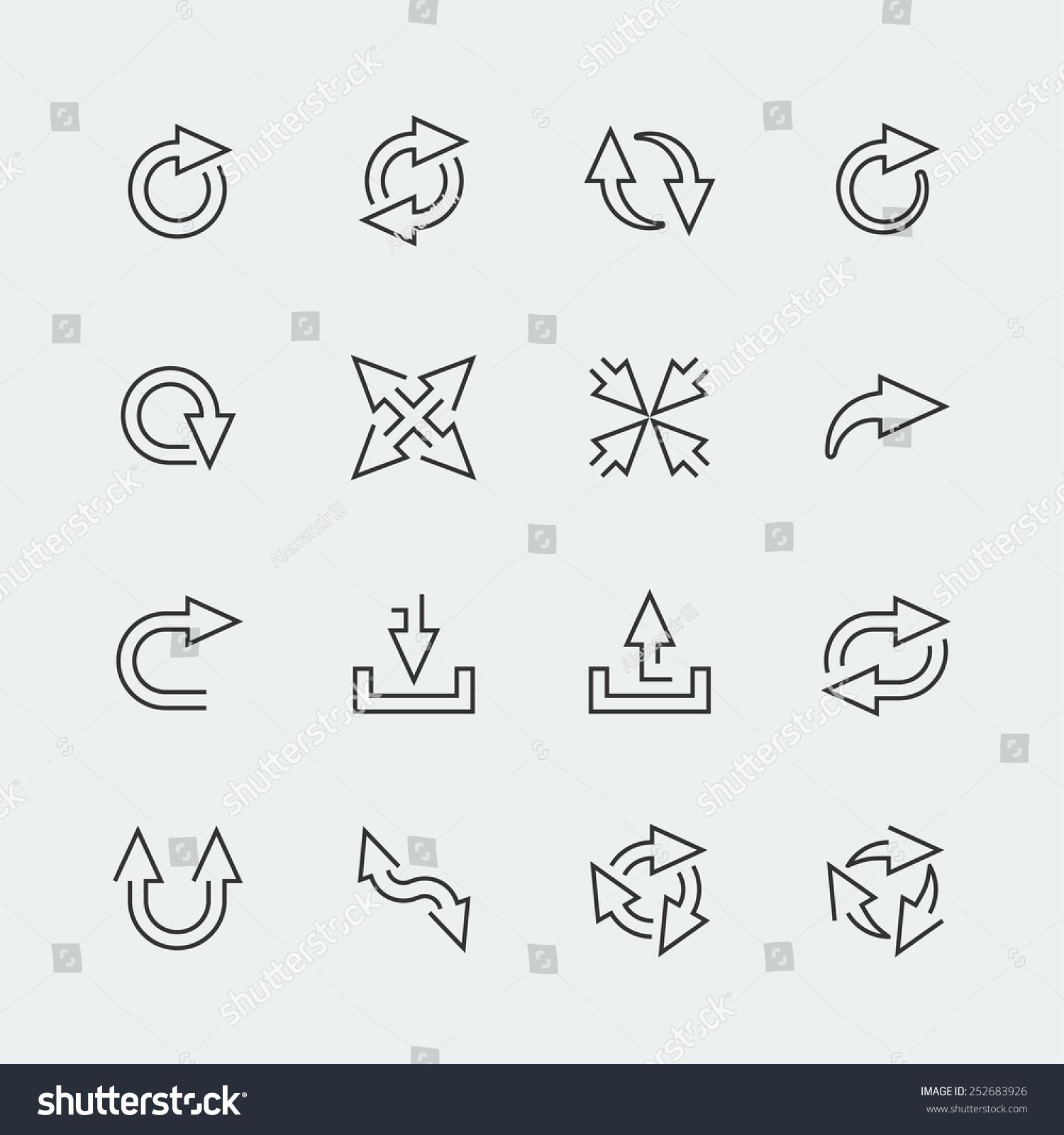 矢量箭头小图标集,轮廓的风格-符号/标志,抽象-海洛()