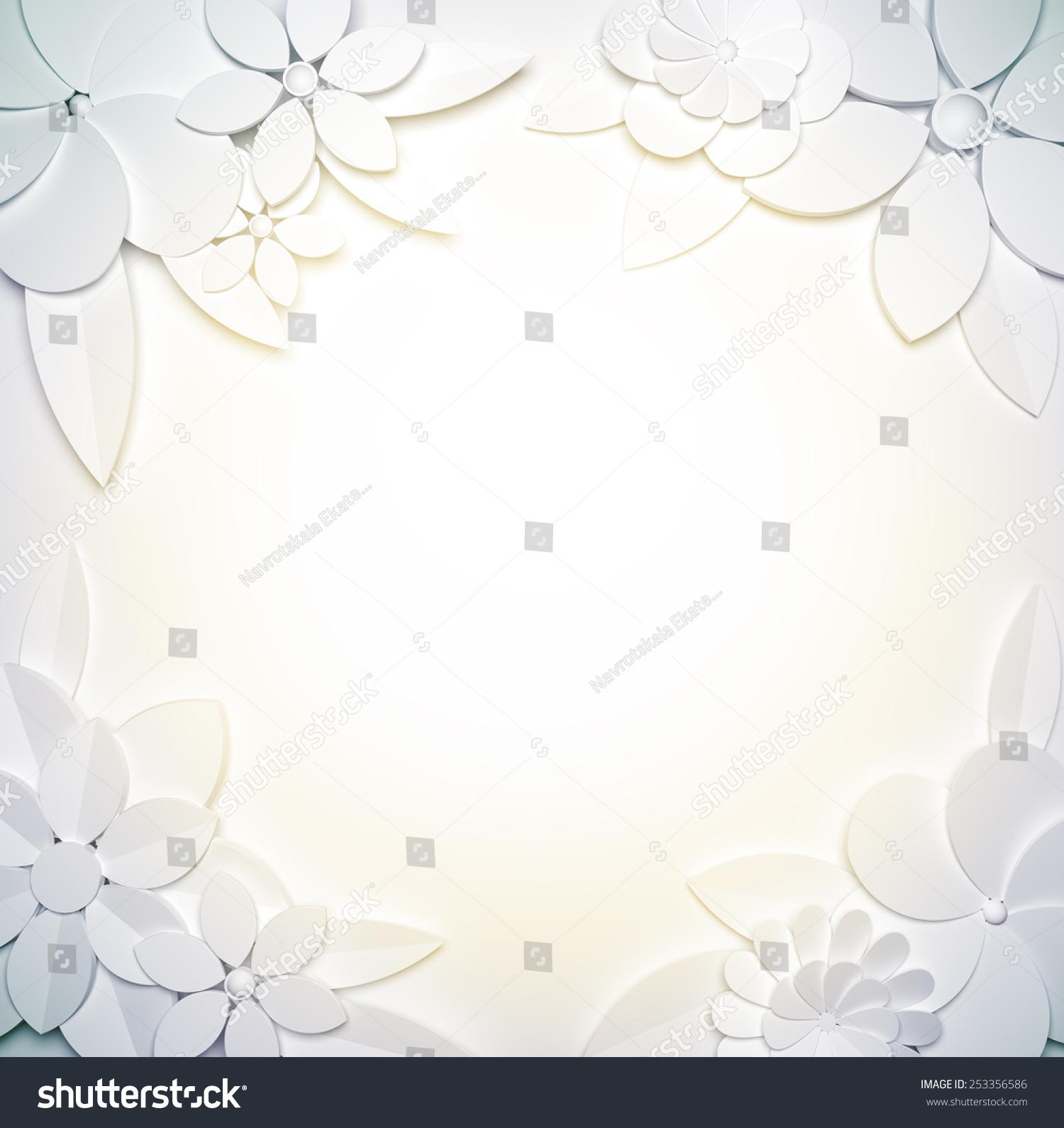 模板的背景与框架与3 d纸风格的花.-背景/素材,自然