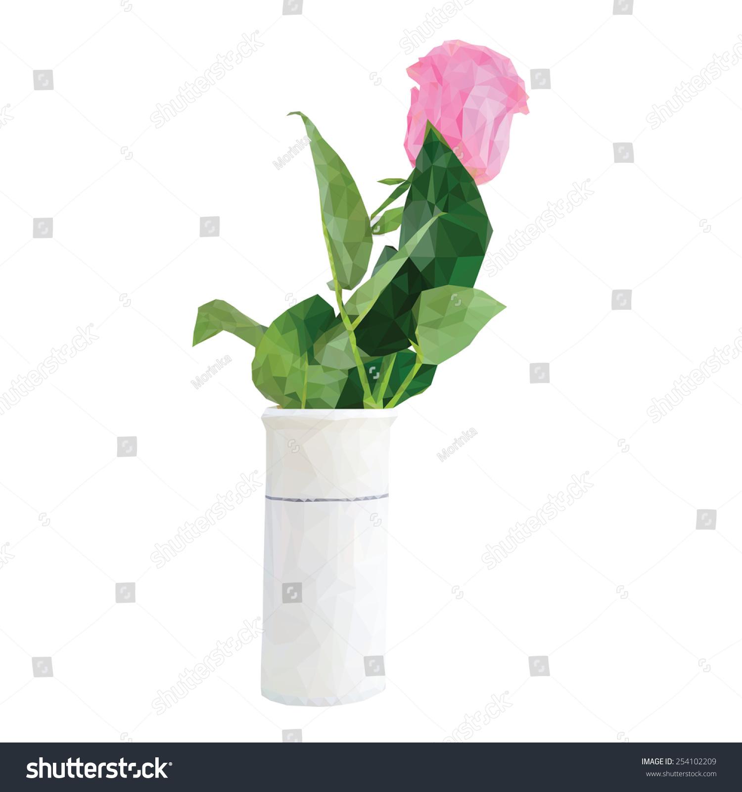 低聚玫瑰花在白色背景一个花瓶-物体,自然-海洛创意()