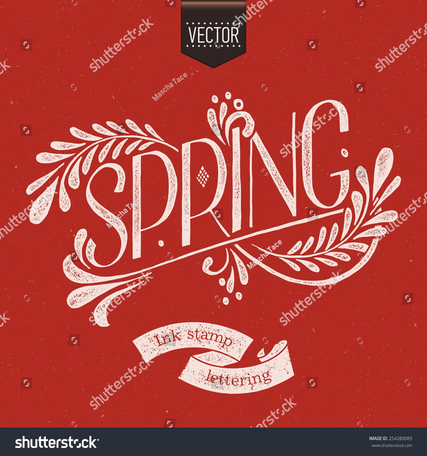 简单的矢量手绘复古字体设计元素在春天的花卉装饰和.
