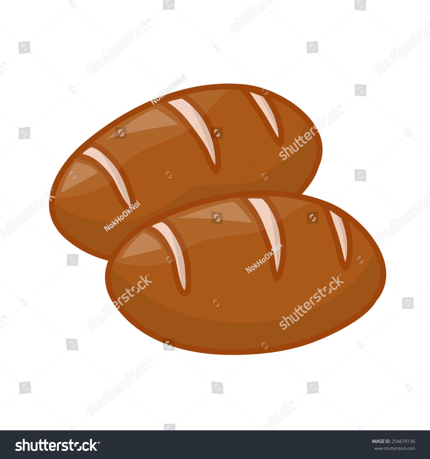 可爱的面包孤立在白色背景