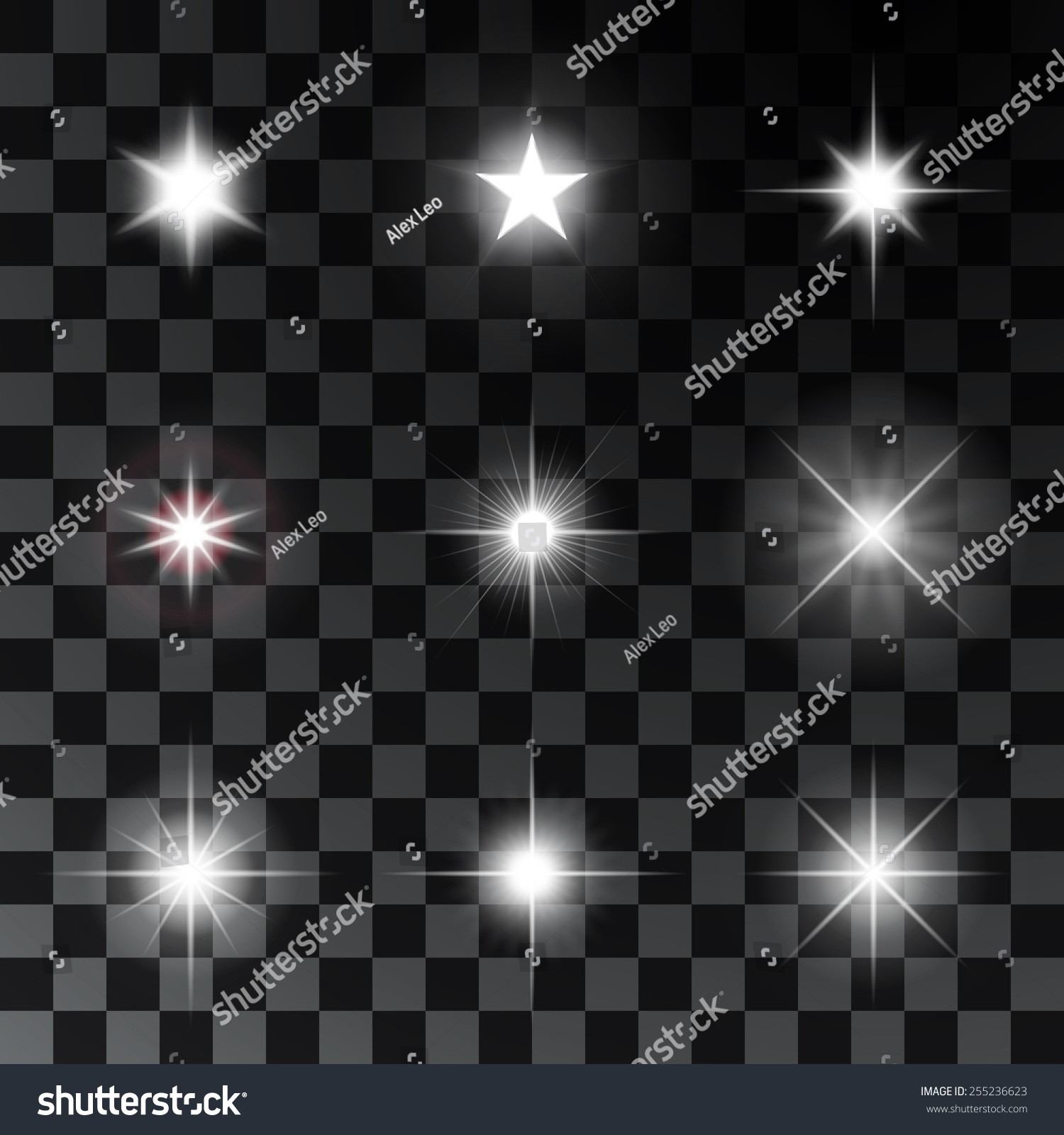 发光和闪闪发光的星星.矢量图