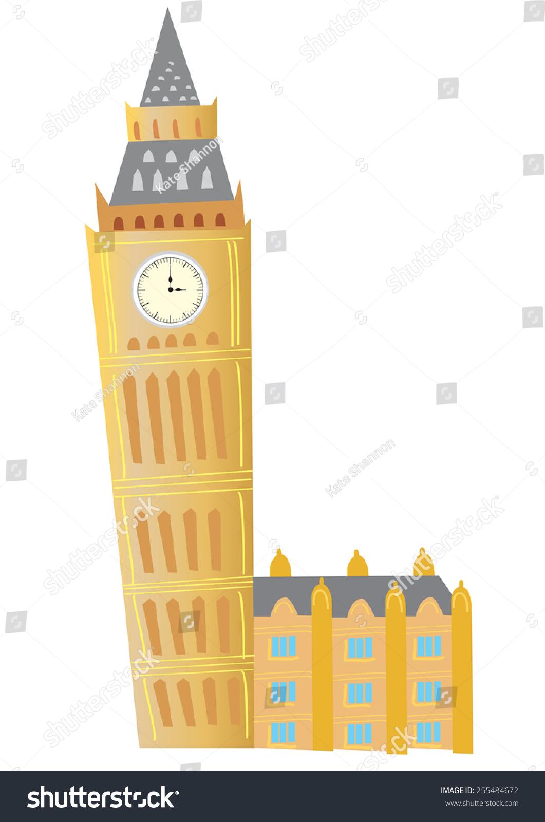 一个卡通在伦敦大本钟钟楼-建筑物/地标-海洛创意()-.