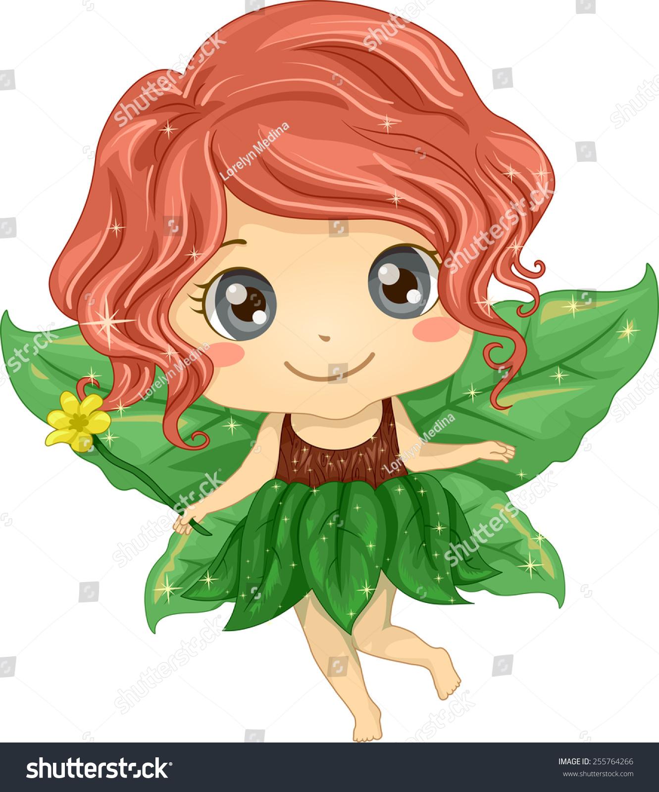 说明一个可爱的小女孩穿着仙女服装用树叶做成的