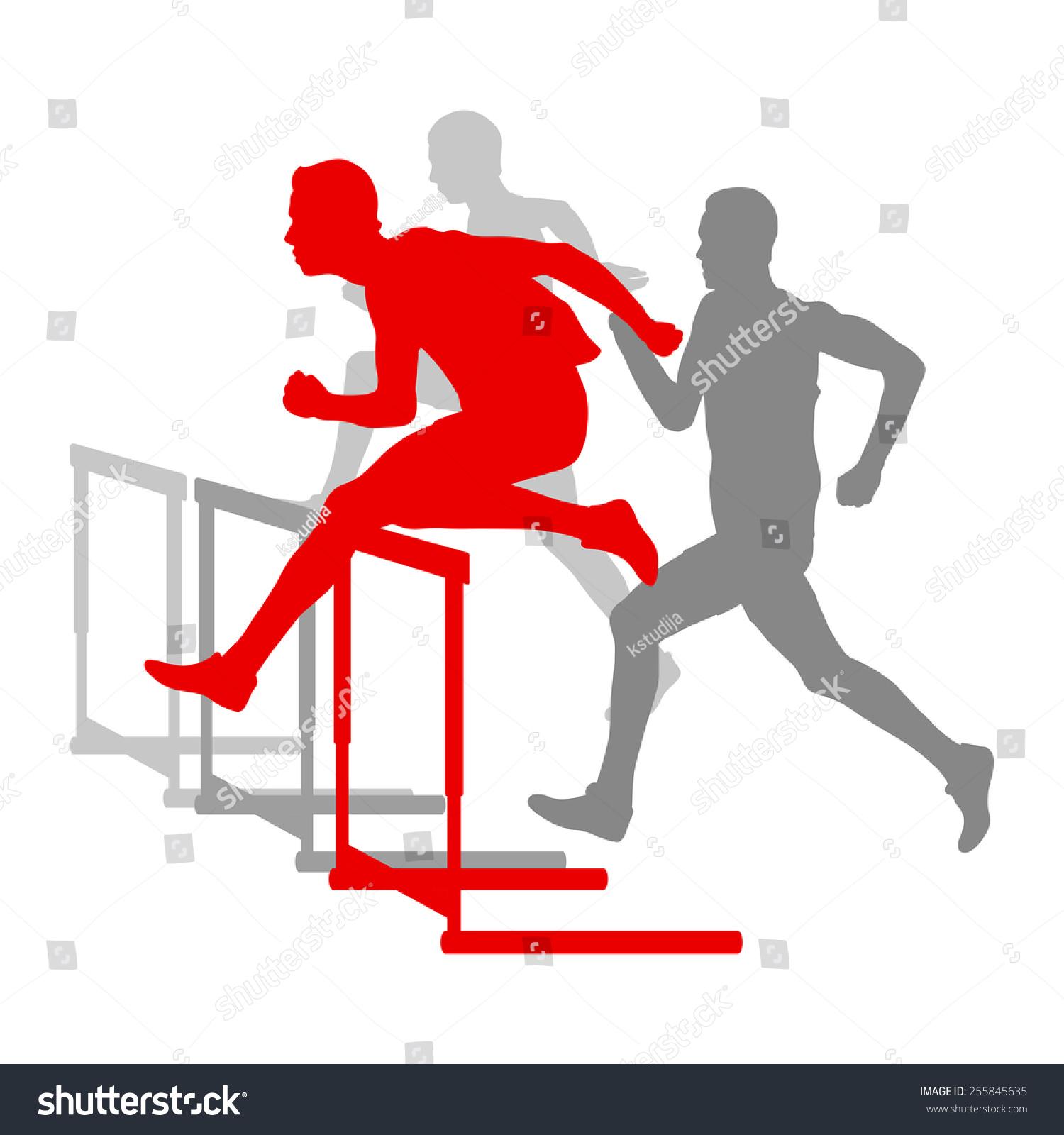 障碍比赛男子障碍运行矢量背景赢家克服困难的概念