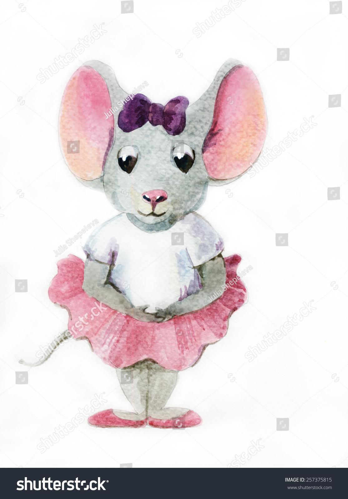 灰色mouse-ballerina水彩画-动物/野生生物