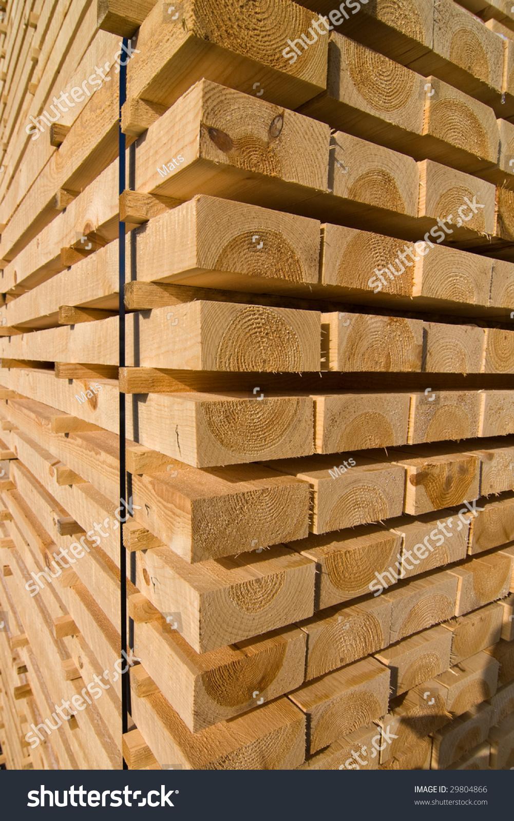 成堆的松木板堆干燥-背景/素材