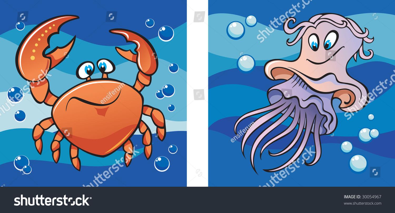 海洋生物、蟹和水母的背景下海浪,设置两个卡通图片,说明 - 动物/野生生物,插图/剪贴图 - 站酷海洛创意正版图片,视频,音乐素材交易平台 - Shutterstock中国独家合作伙伴 - 站酷旗下品牌