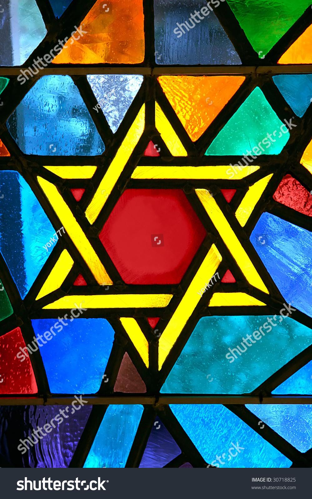 大卫王之星星玻璃画在会堂-背景/素材,宗教-海洛创意