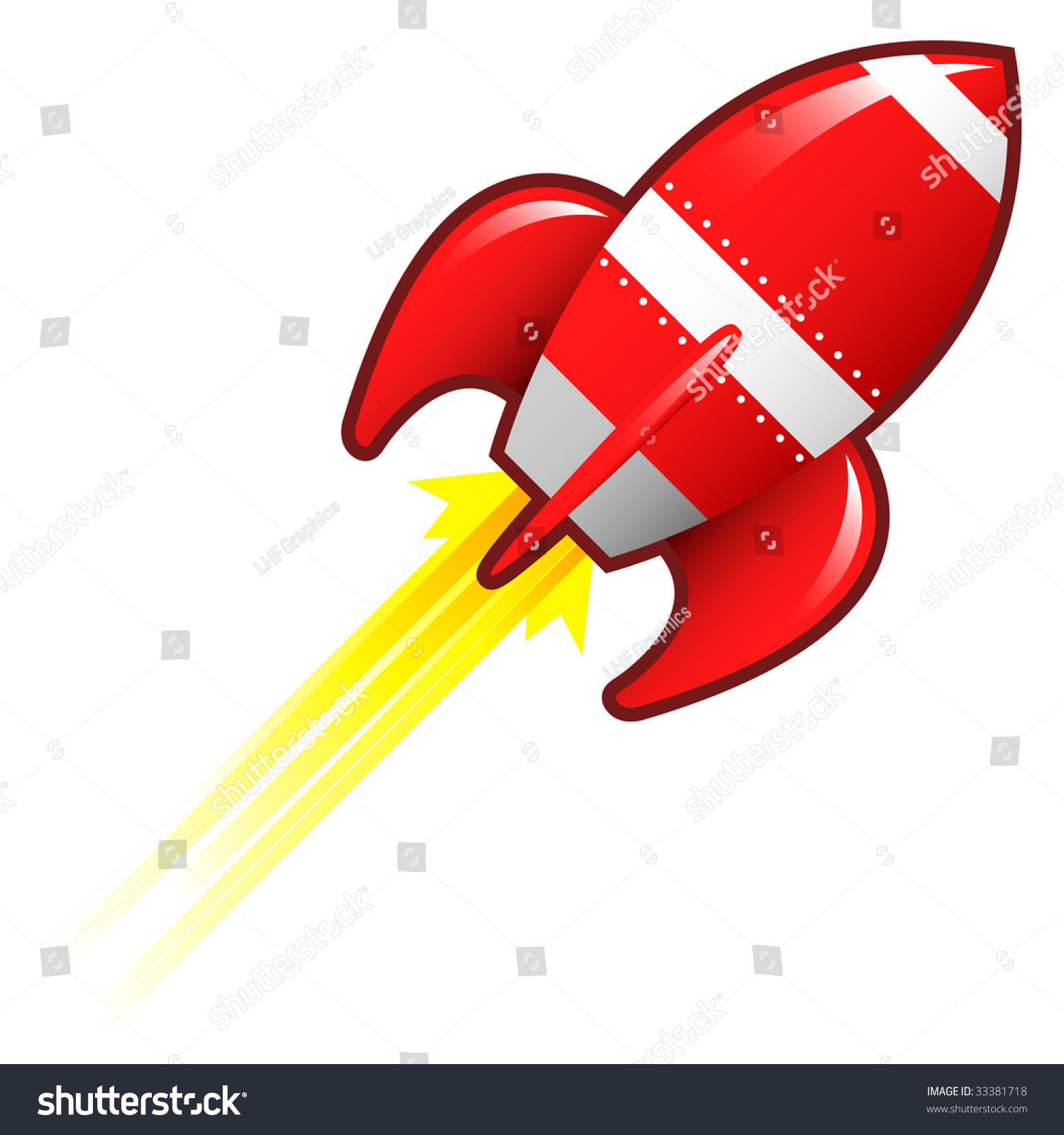 程式化的矢量插图的复古火箭飞船太空飞行器发射升空.