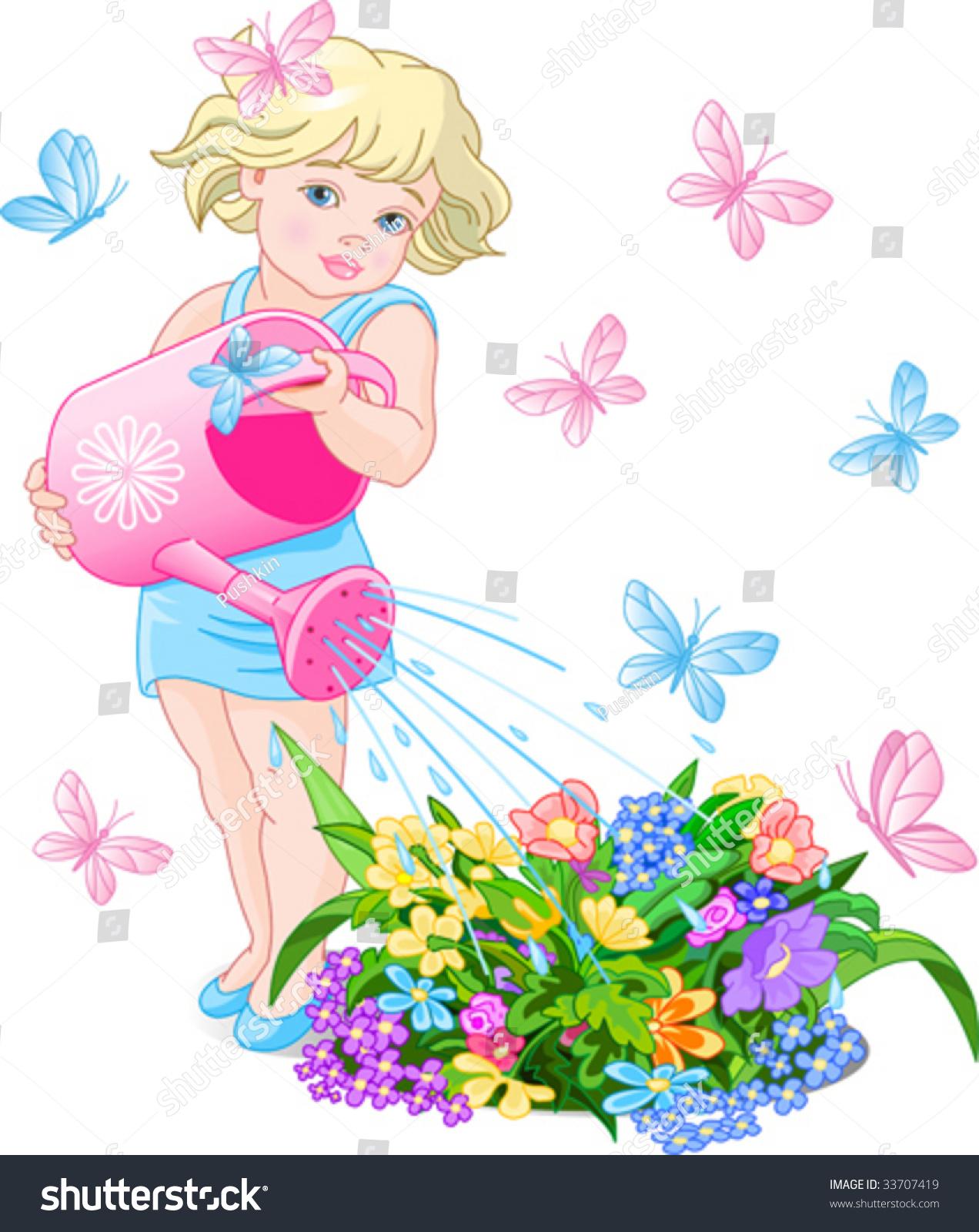 矢量图的一个可爱的小女孩浇花-人物