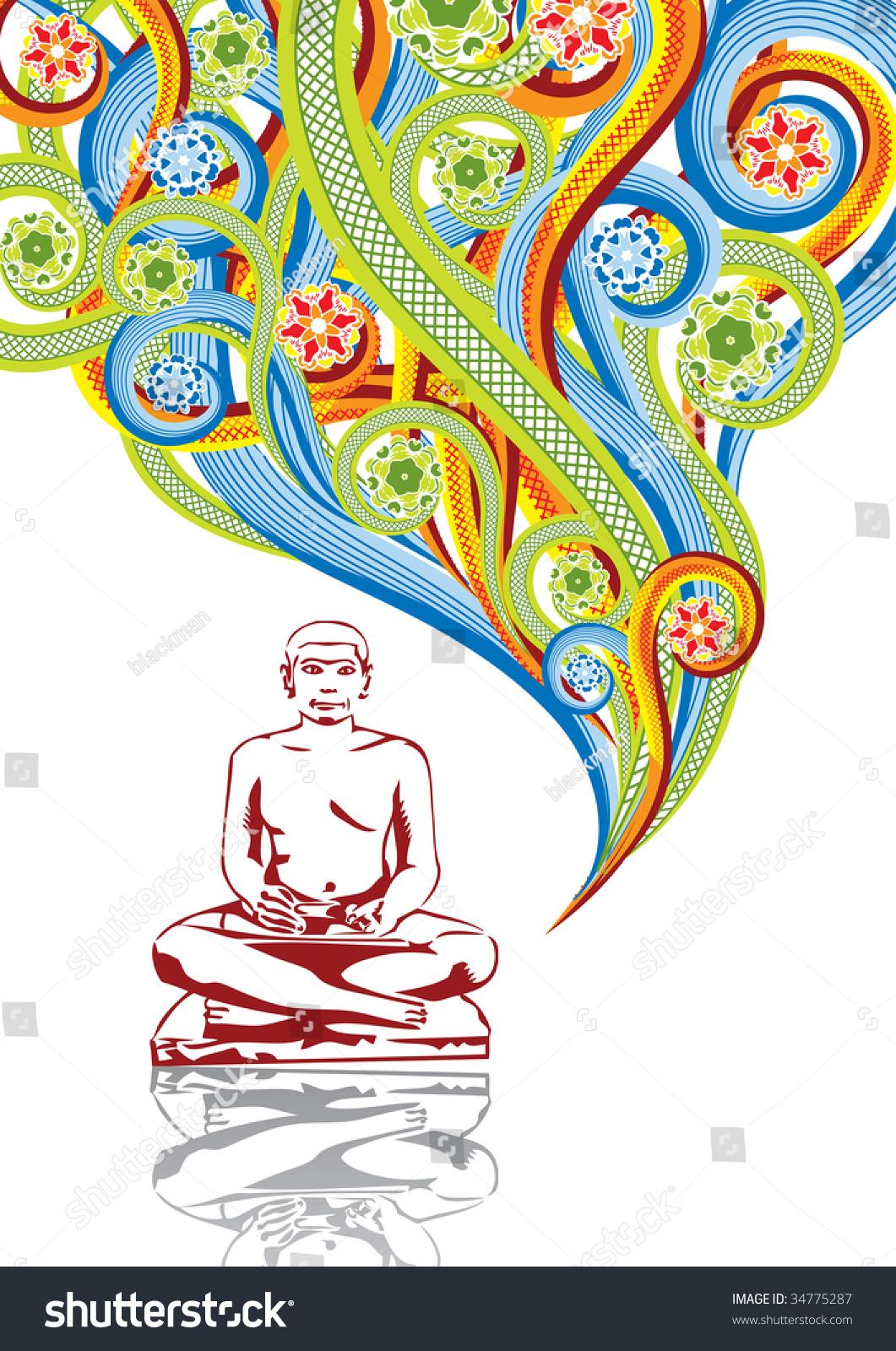 佛陀的抽象拼贴画.a4格式.看到这幅图向量在我的投资.