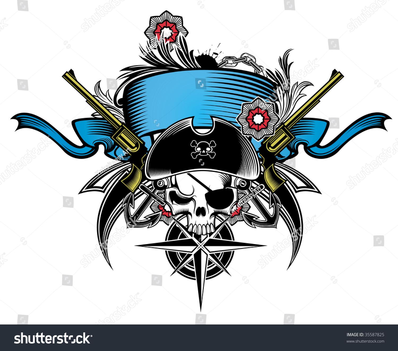 海盗航海背景素材矢量图