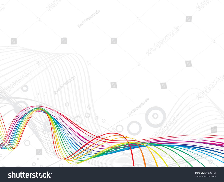 抽象的彩虹波浪线背景与半色调背景