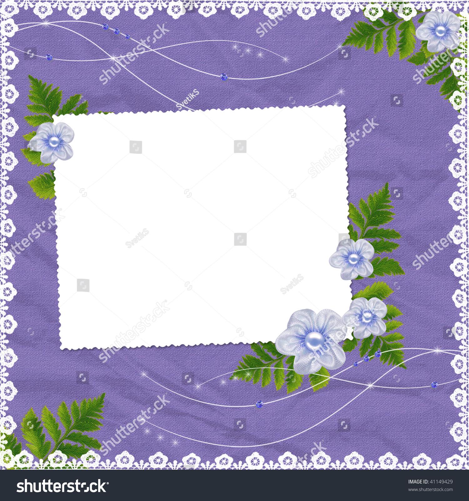 白色框架与花草淡紫色背景