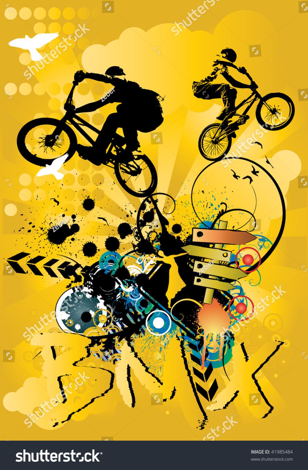 向量的bmx自行车-背景/素材,插图/剪贴图-海洛创意()