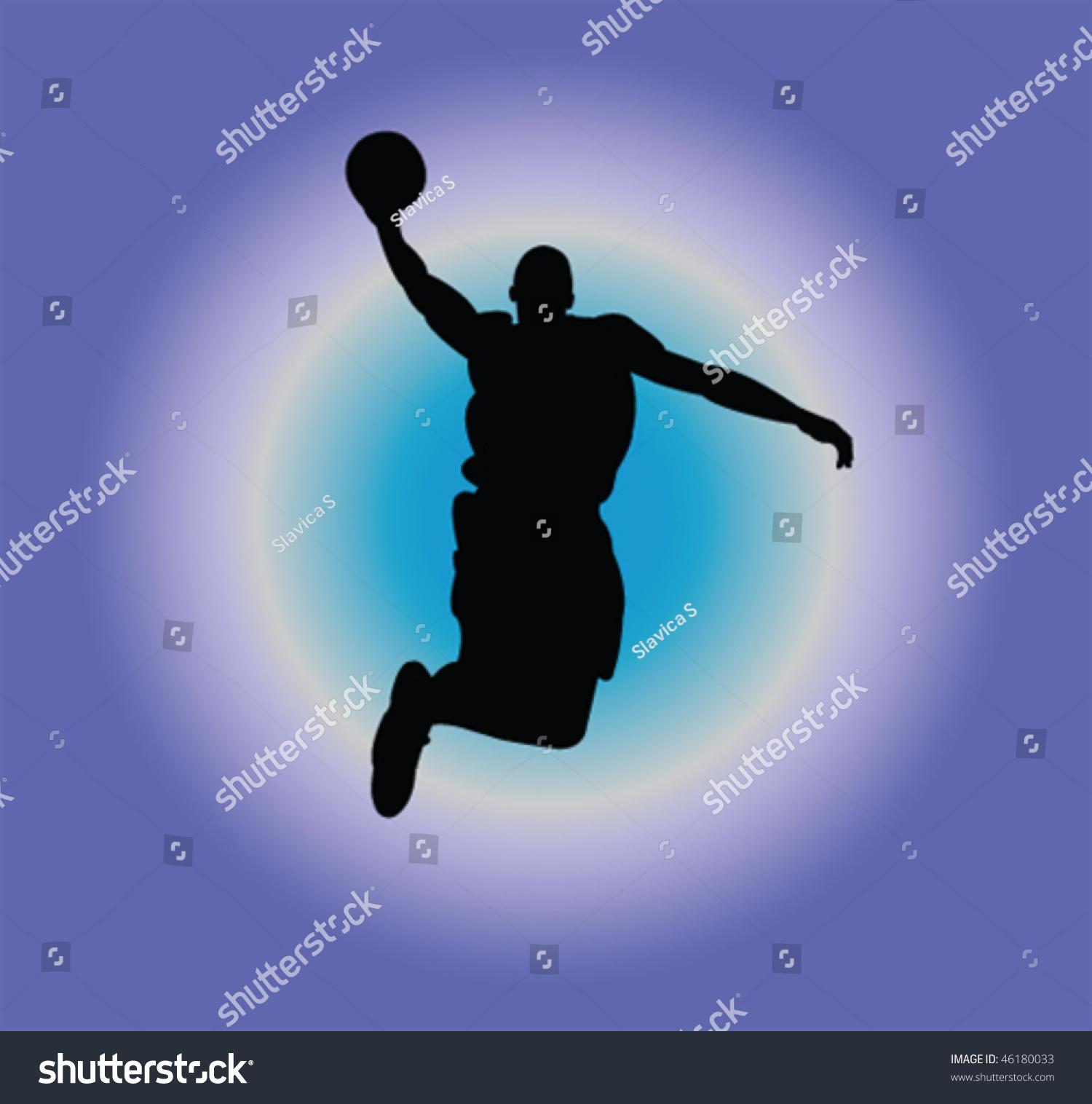 篮球运动员的剪影矢量-运动/娱乐活动,插图/剪贴图-()