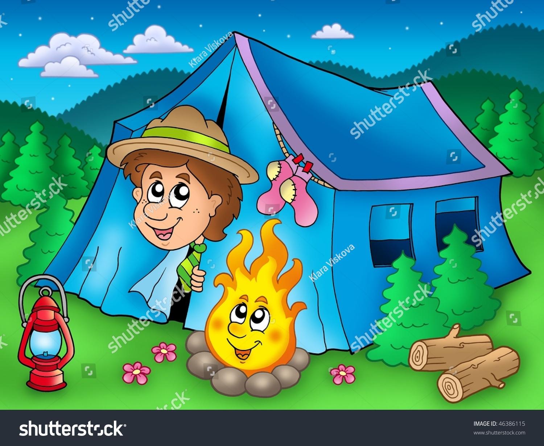 帐篷里的卡通童子军-彩色插图.-插图/剪贴图,交通运输