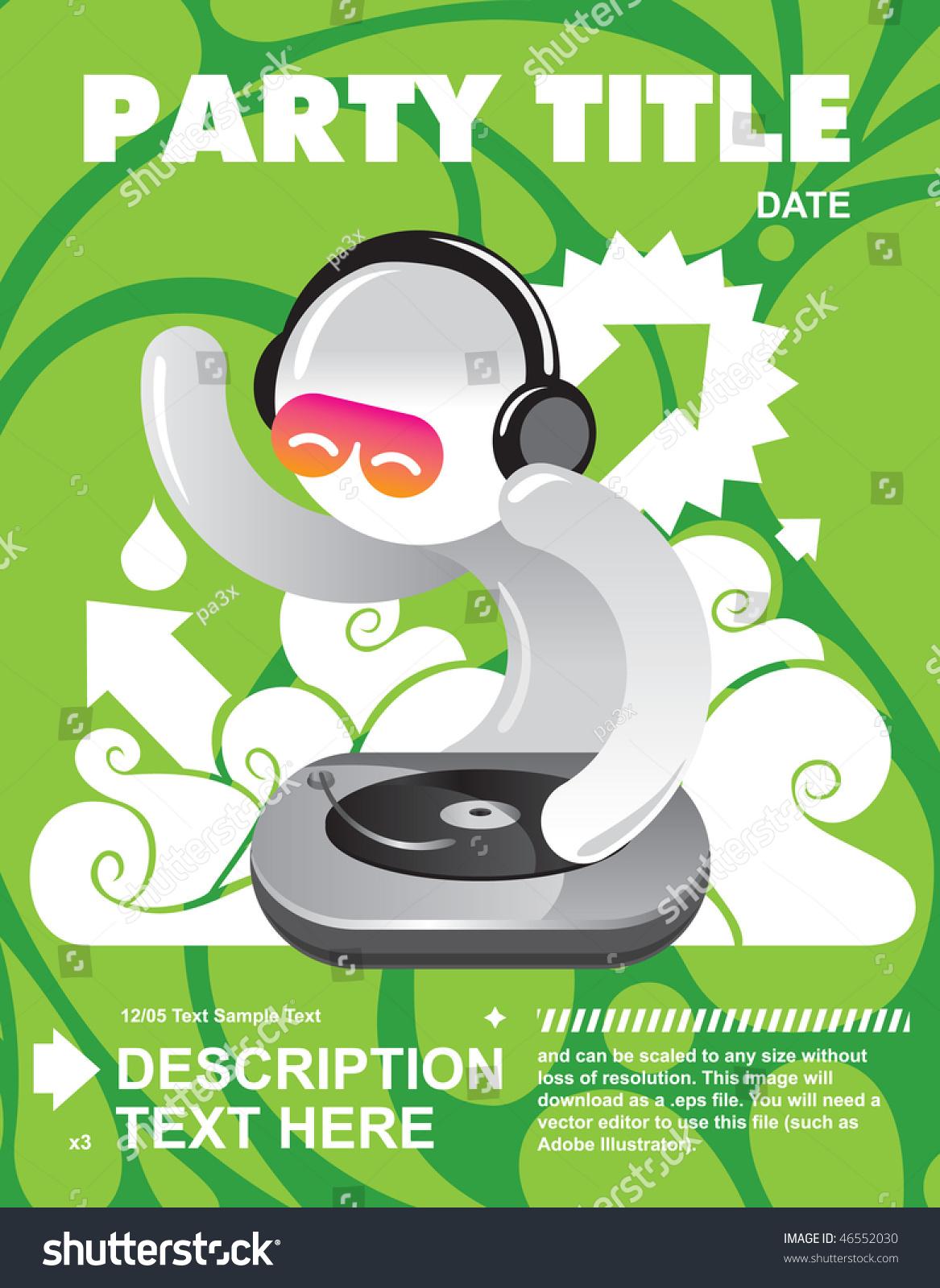 新鲜党传单与dj名片设计-背景/素材,插图/剪贴图-海洛