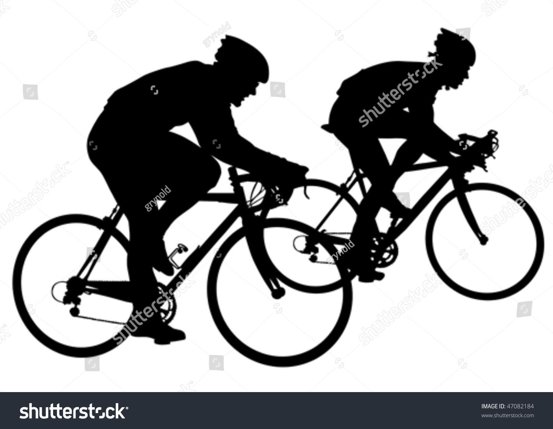 矢量图轮廓骑自行车的人在竞争-运动/娱乐活动