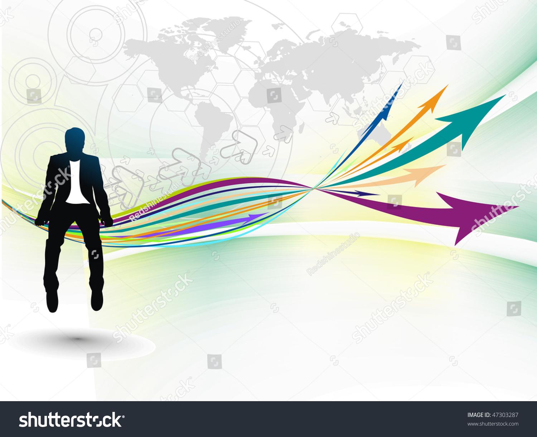 轮廓的商人坐在箭头的增长.矢量插图.在这个向量没有