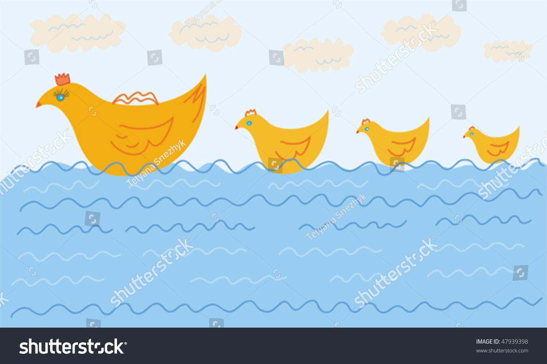 有趣的鸭子家庭在水里游泳